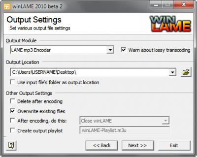 Step 2: Choose the output location where the finished MP3 should be placed